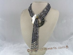 mpn090 Five strands black nugget pearl adjustable lariat necklace