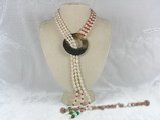 mpn093 Three strands white rice shape pearl adjustable lariat necklace