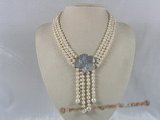 mpn096  triple strands white potato pearl necklace with shell clasp