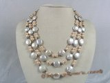 mpn103 triple strands pink mix black potato pearl necklace with coin pearl