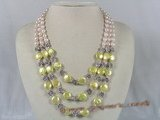 mpn108 Triple strands potato and coin shape pearl necklace with crystal beads