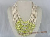 mpn110 Five rows white potato shape pearl necklace with yellow crystal