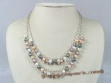 mpn114 Two rows multi color 6-7mm rice pearl layer necklace