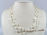 MPN115 4-5mm white rice shape and double shiny pearl  illusion floating necklace
