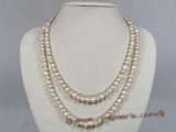 mpn123 Two rows multi color 6-7mm potato shape pearl layer necklace