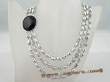 mpn126 three rows grey freshwater nugget pearl necklace with gemstone clasp