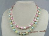 mpn130 multicolor nugget pearl double rows necklace