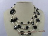 mpn134 triple-strands potato pearl necklace with square gemstone