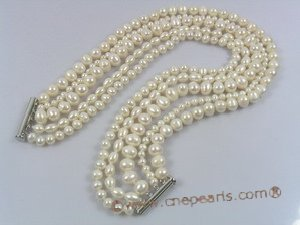 mpn137 Five-strands white cultured pearl choke necklace in wholesale
