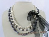 mpn143 Triple rows 7-8mm white&black potato pearl necklace with ribbon ties