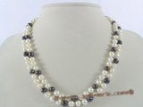 mpn145 Double rows white&black freshwater potato pearl necklace wholesale