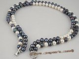 mpn151 white and black potato pearl Double rows necklace in wholesale