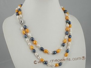 mpn152 Beautiful blend of colors freshwater rice pearl necklace in double row