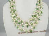 mpn156 Triple strands dancing pearl with green blister pearl necklace factory price on sale
