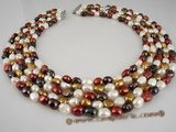 mpn157 luxurious five-strand nugget pearl necklace in blend of color