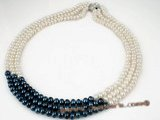 mpn159 6-7mm white and dark blue freshwater button pearl necklace on sale in triple strand
