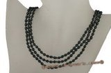 mpn163 Triple strand 4-5mm balck rice pearl necklace in wholesale,4--5mm