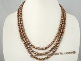 mpn164 4-5mm coffee freshwater rice pearl triple necklace on sale