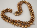 mpn166 9-10mm coffee color freshwater baroque nugget necklace in double strand