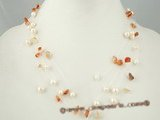 mpn168 cultured potato pearl& agate floating necklace in Illusion design