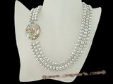 mpn175 three rows freshwater button pearl necklace with abalone shell clasp