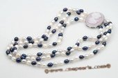 mpn176 Beautiful blend of colors freshwater rice pearl necklace in three row