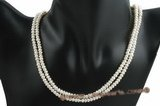 mpn191 Double strands 4-5m white button pearl necklace in wholesale