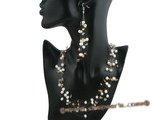 mpn193 White freshwater pearl and citrine beads illusion floating necklace