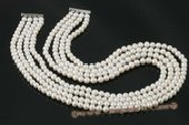 mpn221 Hand knotted white off round layer costume necklace in four rows