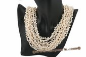 mpn224 Luxury 12 strands 4-5mm freshwater side drilled pearl layer necklace