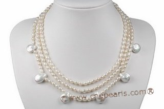 mpn293 Elegante Freshwater Rice Pearl& Coin Pearl Layer necklace