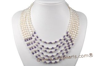 mpn302 Elegante Six Rows Freshwater Rice Pearl and Amethyst Layer necklace