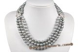 mpn310 Stylish multi-strand grey potato pearl necklace with Rhinestone Encrusted Medallion