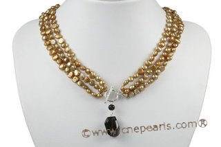 mpn315 6-7mm champagne nugget pearls multi strand necklace with smoking quartz