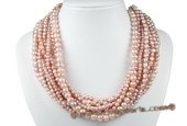 mpn324 Elegant Hand knotted 11 rows Purple Freshwater Pearl Layer Necklace