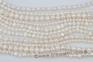 mpn325 Hand knotted 11 strands Cultured Pearl Layer Necklace in White