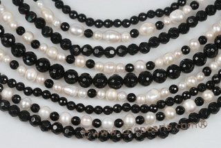 mpn326 Designer 9 Strand White and Black Cultured Pearl Layer Necklace