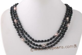 mpn328 Three strands Black and Purple cultured freshwater pearl necklace