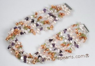 mpn338 Sterling Silver Multi-Gem & Freshwater Pearl Necklace