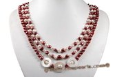 mpn339 Elegant Hand knotted Nugget Pearl and Shell Layer Necklace