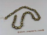 ngs015 5strands 8*10mm olive Freshwater Baroque pearls