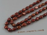 ngs018 5strands 8-9mm wine red nugget Freshwater loosen pearls