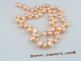 nss02 5strands nature pink 6-7mm side_dirlled nugget pearls