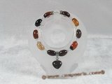 pb036 8*12mm oval agate & crystal Elastic Power bracelet in wholesale