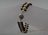 pbr006 4mm black agate with potato shape pearls bracelets