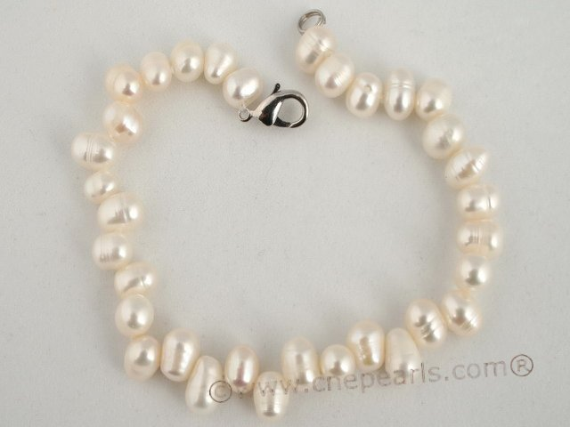 pbr162 stunning 6-7mm white side-drilled freshwater pearl bracelet in wholesale