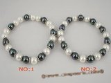 pbr166 8mm black and white south sea shell pearl flexible bracelet in wholesale