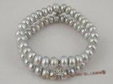 pbr172 Grey freshwater button pearl Stretch Bracelet on sale