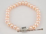 pbr175 wholesale pink freshwater button pearl bracelet online