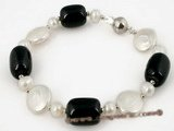 pbr194 White freshwater coin pearl & tubby agate bracelet on sale